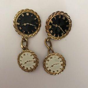 Clock-face vntg 80's earrings black/white/…